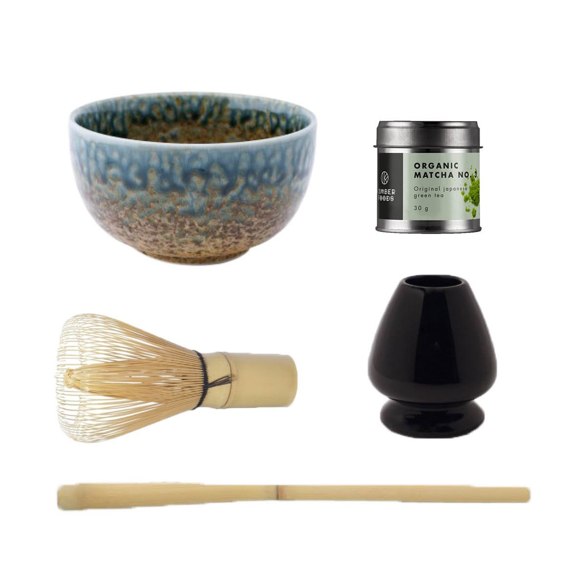 Matcha sæt med japansk MATCHA No. 3 økologisk, blå matcha teskål