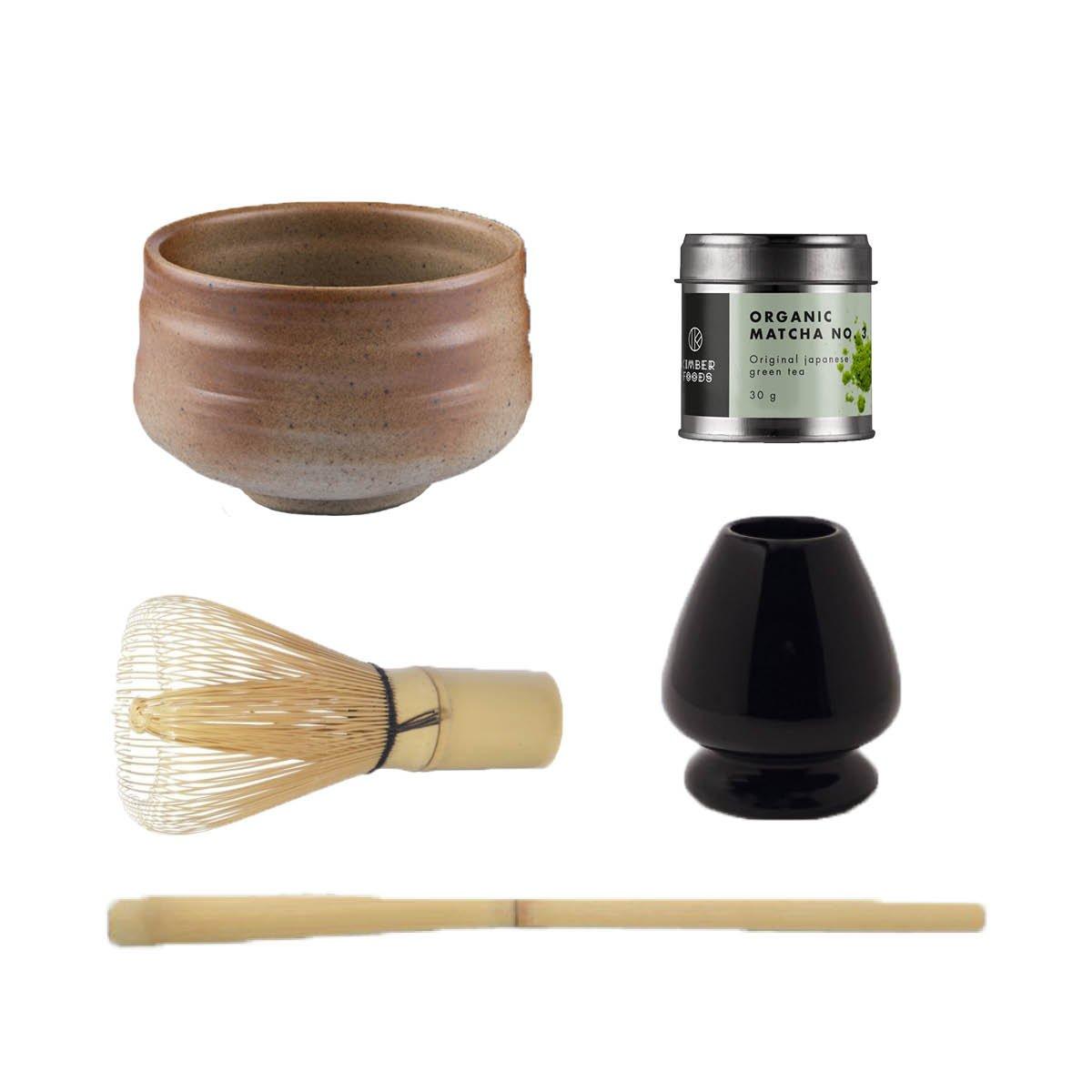 Luksus matcha sæt med japansk MATCHA No. 3 økologisk, SUNA matcha teskål håndlavet