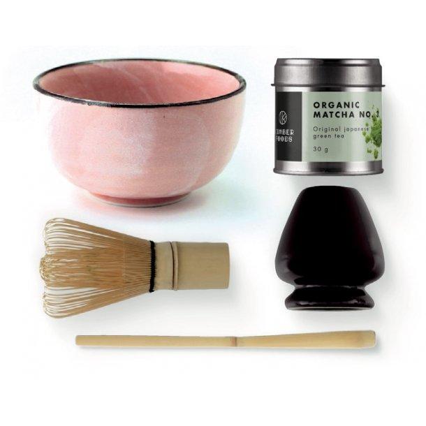 Matcha sæt med økologisk matcha tepulver, lyserød matchaskål