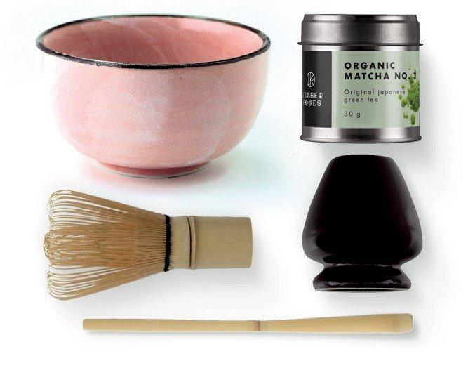Matcha sæt med japansk økologisk matcha tepulver, lyserød matchaskål