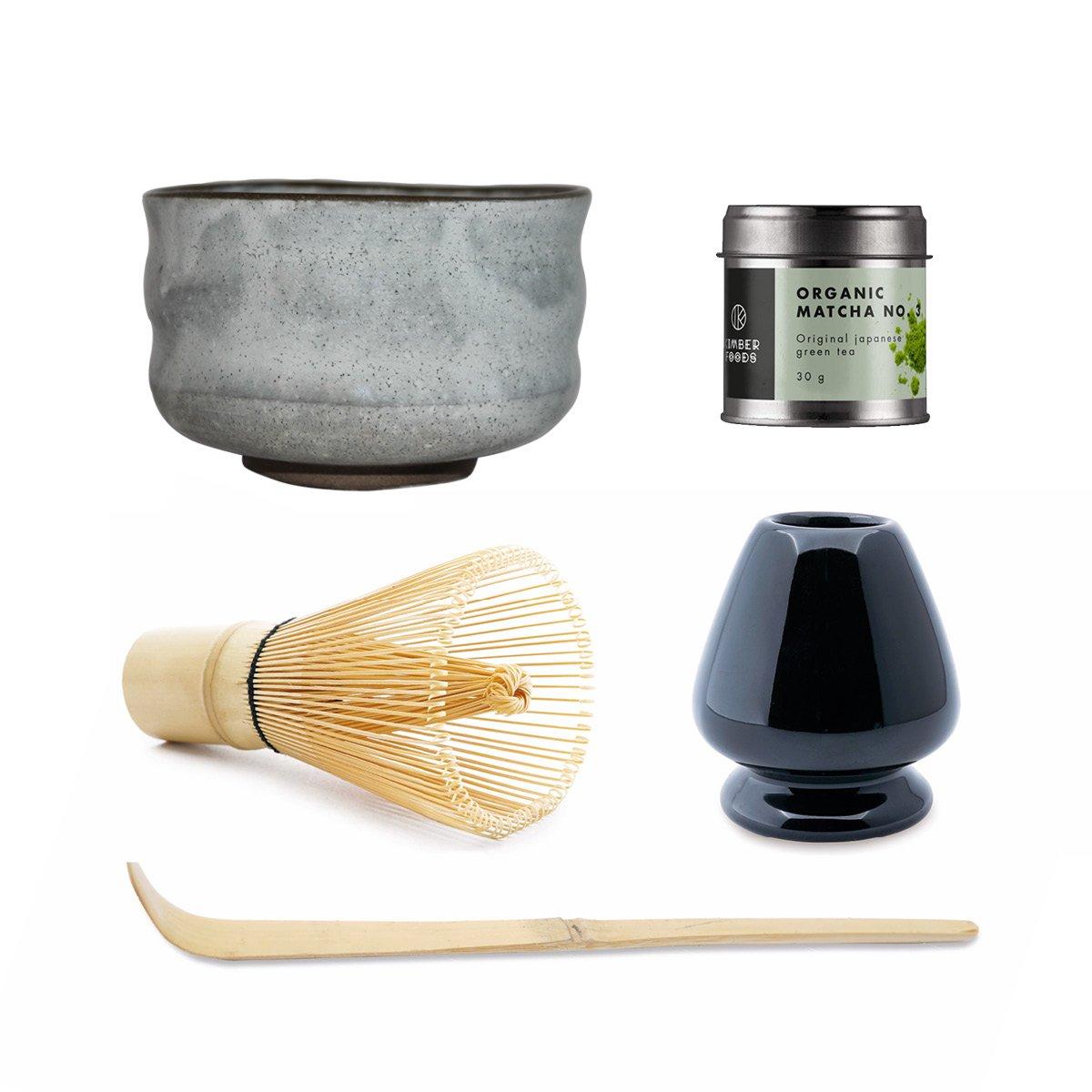 Luksus matcha sæt med japansk MATCHA No. 3 økologisk, KOHKI matcha teskål håndlavet